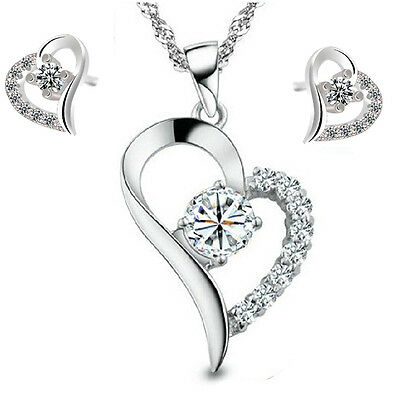 2017 New products Fashion jewelry Set 925 silver fine heart necklace and earring