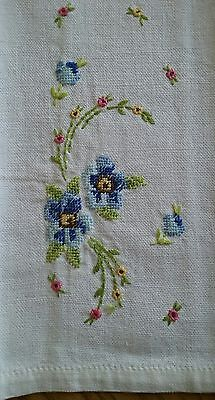 """Vintage 18"""" Tea Towel ~ Hand Embroidered Petit Point Embroidery ~ Blue Floral"""