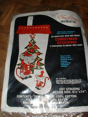 "Vintage Edna Looney Mouse 14"" Felt Christmas Stocking Sealed"