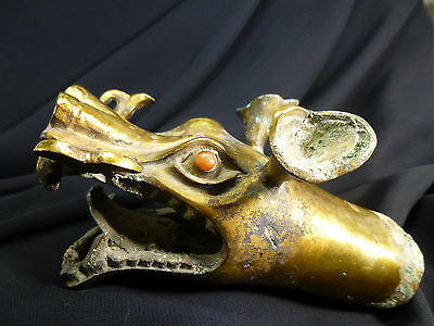 Chinese Gilt-Bronze Dragon's Head Scepter w/Red Agate Eyes-General's War Chariot