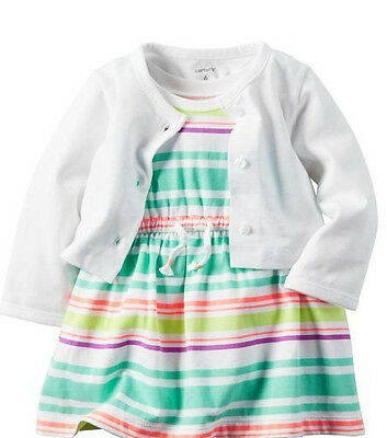 Carter's Baby Girl 2 Piece Set Of Summer Dress & Cardigan Size 6 Months New WT