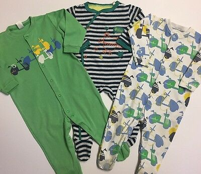 Baby Boys NEXT BHS X3 Printed Sleepsuit Babygrows Age 9-12 Months