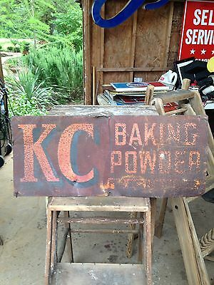 Vintage Collectible Advertising Metal Double Sided KC Baking Powder Sign WOW!!!!