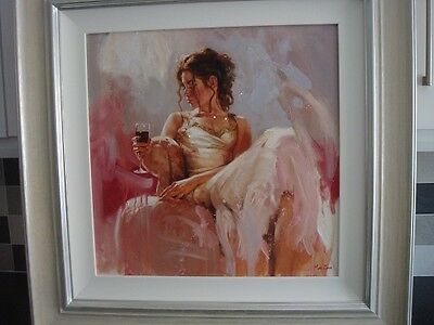 Mark Spain ' A Glass Of Wine'  Original Painting On Canvas Framed