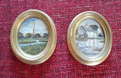 Miniature Oil Painting of Salisbury Catherdral & Hambleden Mill Signed by Artist