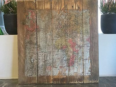 World Map on Wooden Board.