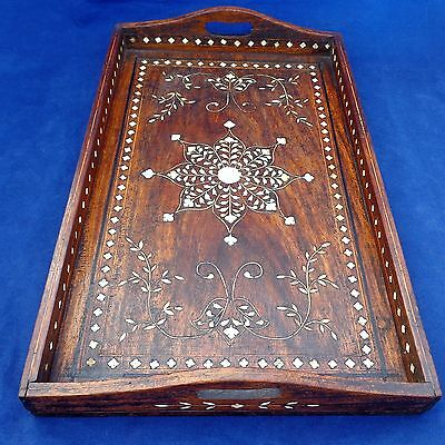 Antique Anglo Indian Inlaid Wooden Serving / Tea Tray Ornate Design c 1880 -1900