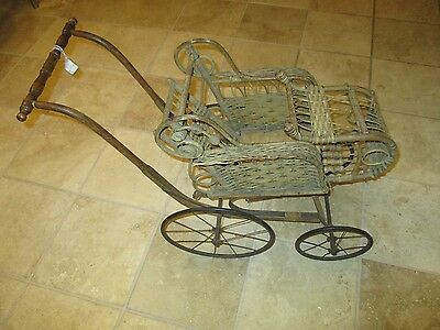 Antique Victorian 1900's Wicker Baby Doll Carriage Stroller