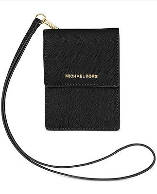 Michael Kors Black Lanyard Card Id Holder Case New
