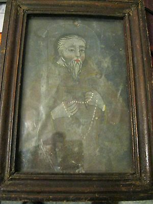 Original Antique Retablo On Tin Bubble Glass Front And Framed Saint With Rosary