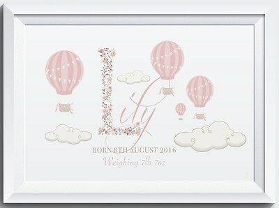 Personalised Baby LASER SW CRYSTAL PRINT Name Birth Nursery Christening Gift