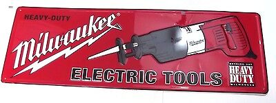 Milwaukee Electric Tools Metal Sign Painted Embossed NOS With Sawzall Saw