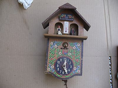 Thermometer/barometer Wooden Cuckoo Clock With Bird ~ Made In Germany