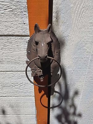 Cast Iron Antique Style Rustic HORSE HEAD Door Knocker Towel Holder County Chic