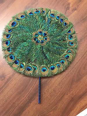 Vintage Peacock Feather Round Fan