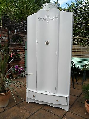 Adorable Vintage Painted Single Wardrobe with Lovely Interior Shabby Chic