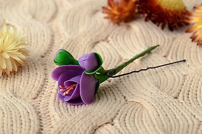 Handmade Tender Decorative Hair Pin With Cold Porcelain Violet Flower