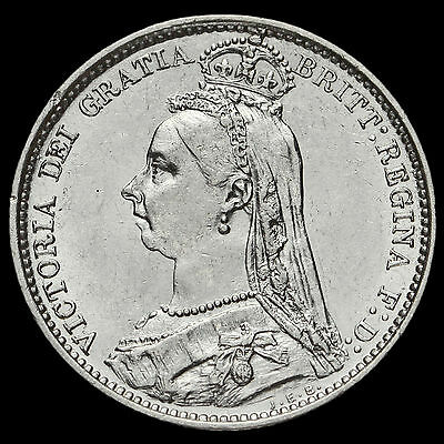 1887 Queen Victoria Jubilee Head Silver Wreath Sixpence, AEF / EF