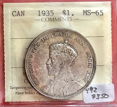 1935 Canada 1 Dollar Silver Coin 492 ICCS MS 65 Gem - Pretty Patina SALE