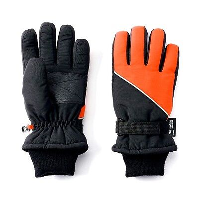 NWT Youth TEK GEAR Gloves Waterproof Thinsulate Ski Snow Winter M/L 8-20 Black O