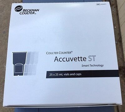 Beckman Coulter Accuvette ST 25 x 25 mL Vials and Caps 1 Package (25) New In Box