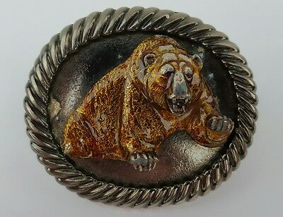 Vintage MBCI Angry Amber Attacking 3D Grizzly Bear Belt Buckle Made In USA