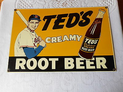 Ted's Creamy Root Beer Porcelain Sign 15X10 Vintage Advertising