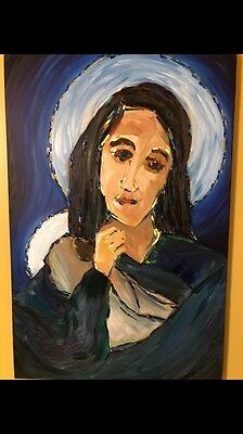 Original Oil Painting Madonna and Child Religious Catholic Canvas Painting