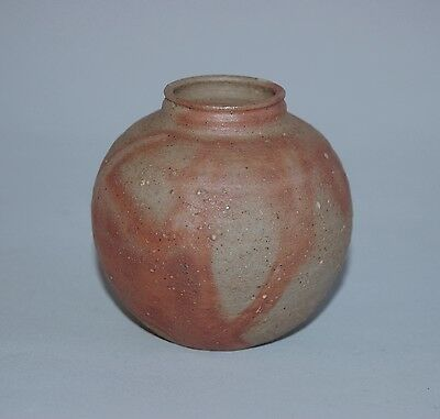 Small, globular chaire tea caddy, Bizen stoneware, Japan, 1980s