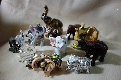 Lot 12 Vintage Elephant Figures Souvenir Animals Collectible Figurine