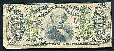 "50 Fifty Cents Third Issue ""Spinner"" Fractional Currency Note"