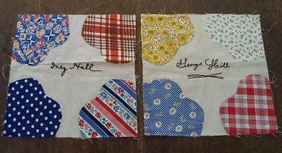 14 Vintage 30s Quilt Blocks Hand Stitched Feedsack Fabrics Signed Church Group