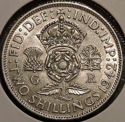 British Florin - 1942 - Big Silver Coin - $1 Unlimited Shipping