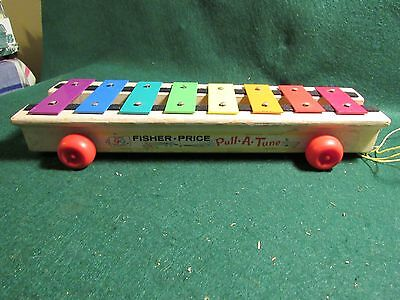 Vintage Fisher Price Pull A Tune Xylophone Wood Metal Toy 1964
