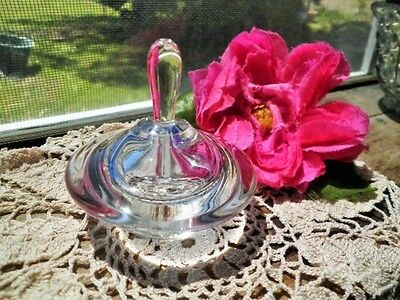 Vintage Perfume Bottle Art Glass Handmade Signed By Artist Clear Blue Touches