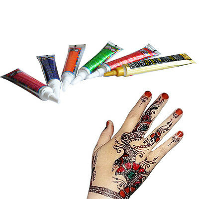 6 Colors Cone Henna Paste Body Paint for Women Men DIY Drawing Arm Temporary New