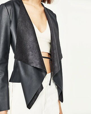 BNWT ZARA Faux Leather Soft Drape Jacket Cardigan Size S M L Black