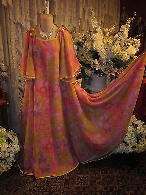 Rare~Vtg Character by Matej for Neiman Marcus  Nightgown & Peignoir All Chiffon