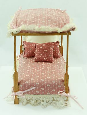 Vintage Pink Wood Girl's Canopy Bed Dollhouse Furniture Accessories 1:12