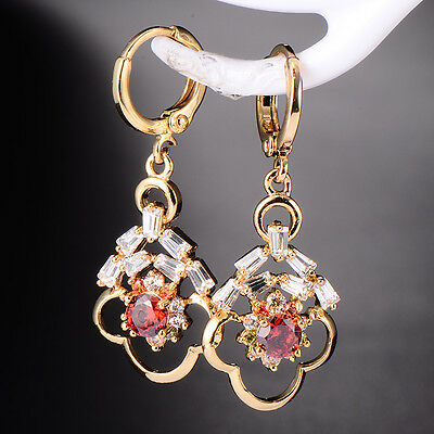 Hot Womens Gold Plated Flower Rhinestone Crystal Drop Earrings Gemstone