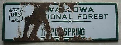 1920's FOREST SERVICE PORCELAIN WALLOWA NATIONAL FOREST SIGN OREGON / IDAHO