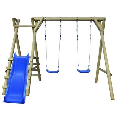 Swing Set with Ladders and Slide Kids Garden Playground 270x255x210 cm Pinewood