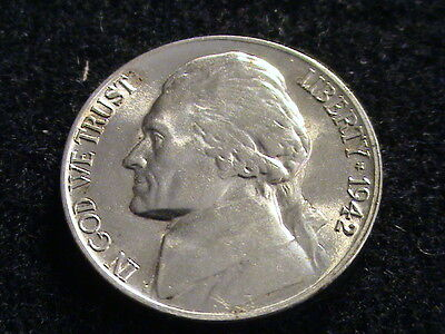 1942 P Jefferson Silver War Nickel, Uncirculated, full steps   L137  N1616