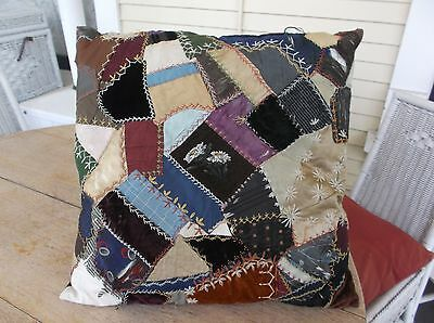 antique VICTORIAN PILLOW EMBROIDERED CREWEL HANDWORK CRAZY QUILT VELVET DAISY