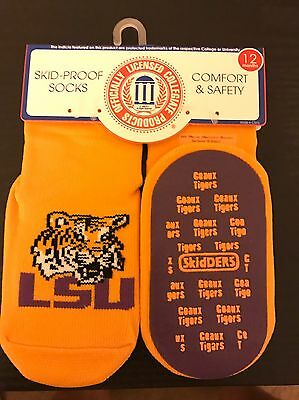 Unisex Child Baby Infant Skidders LSU Skid-Proof Socks sz 12 Month Geuax Tigers
