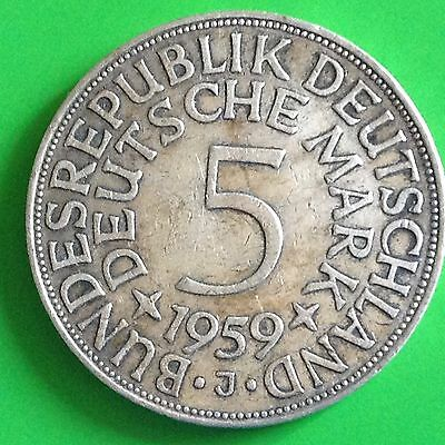 1959 J Germany Silver 5 Mark Coin