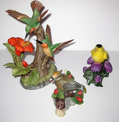 Lot of 3 Porcelain Birds: Large Hummingbirds, Cedar Waxwing, American Goldfinch
