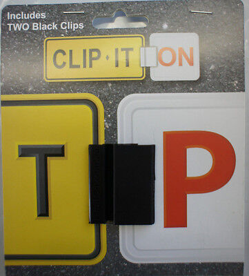 Clip It On L or P Plate Clips Car Number Licence Plate: Two Piece Black Set