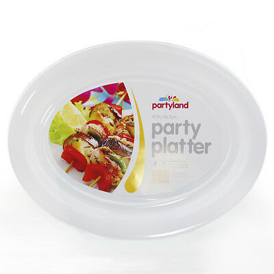 36PK WHITE PLASTIC OVAL SERVING TRAY  PLATTER CATERING PARTY LARGE 48cm x 36.5cm