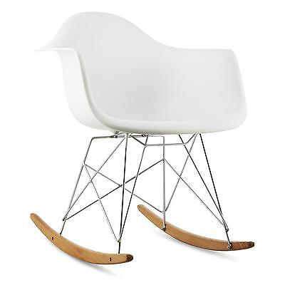 Rocking Garden Chair Home Furniture Patio Balcony Swivel Nursing White Birchwood